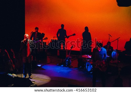 CAMBRIDGE, UNITED KINGDOM - MAY 06, 2016: Tindersticks performs their cine-concert at the Corn Exchange for their new album The Waiting Room