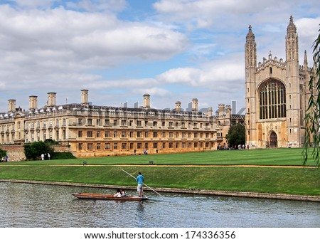Cambridge University, King's College from across the river - stock photo