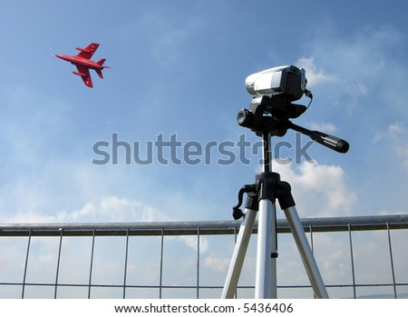 Camcorder being used at an  air show