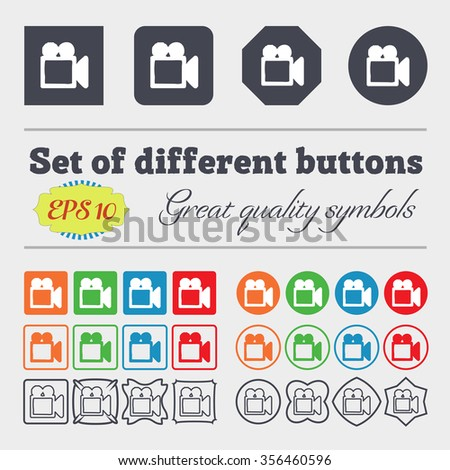 camcorder icon sign. Big set of colorful, diverse, high-quality buttons. illustration - stock photo