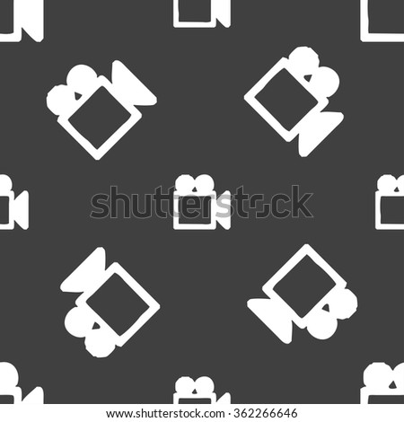 camcorder icon sign. Seamless pattern on a gray background. illustration - stock photo
