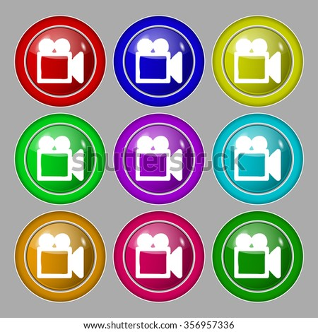 camcorder icon sign. symbol on nine round colourful buttons. illustration - stock photo