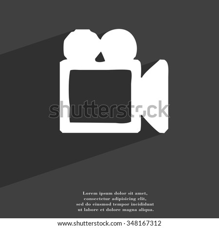 camcorder icon symbol Flat modern web design with long shadow and space for your text. illustration - stock photo