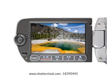 camcorder LCD display screen with menu closeup isolated on white - stock photo