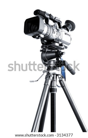 Camcorder on a professional tripod - stock photo