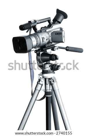 Camcorder on a tripod - stock photo