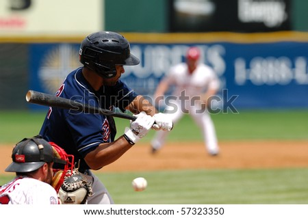 CAMDEN, NJ - JULY 15: Somerset Patriots outfielder Noah Hall takes a pitch during in an at-bat on July 15, 2010 in Camden, NJ. - stock photo