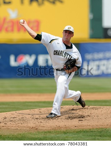 CAMDEN, NJ - MAY 26: Charlotte 49'er pitcher Andrew Smith delivers a pitch during an Atlantic Ten baseball tournament game against Charlotte on May 26, 2011 in Camden, NJ. - stock photo