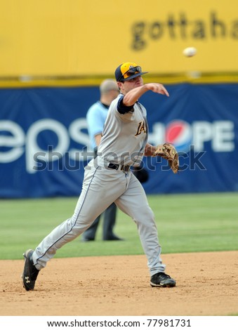 CAMDEN, NJ - MAY 25: LaSalle University infielder Dan Klem throws the ball to first base during an opening round game in the Atlantic 10 baseball Championships May 25, 2011 in Camden, NJ. - stock photo