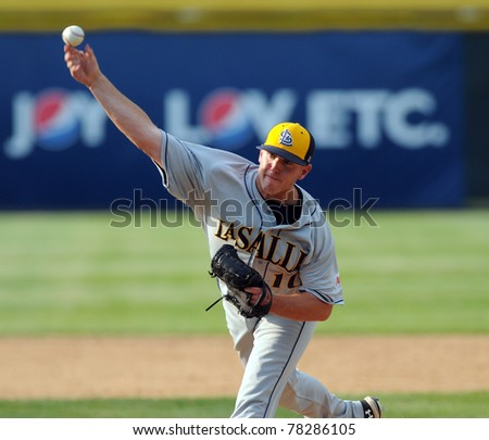 CAMDEN, NJ - MAY 25: LaSalle University pitcher Kevin Christy delivers a pitch during an opening round game in the Atlantic 10 Baseball Championships on May 25, 2011 in Camden, NJ. - stock photo