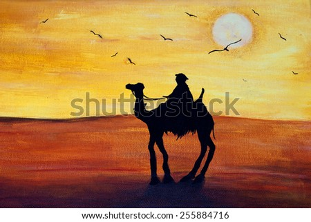 Camel in the desert, painting acrylic on canvas - stock photo