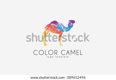 Camel logo. Color camel logo design. Animal logo. Creative logo - stock photo