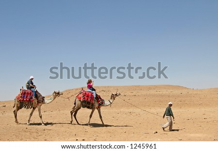 Camel riding at desert, Egypt