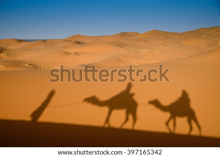 Camel shadows on Sahara Desert dunes, Erg Chebbi, Merozuga, Morocco - stock photo