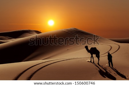 Camel with herdsman in the Sahara desert, Morocco - stock photo