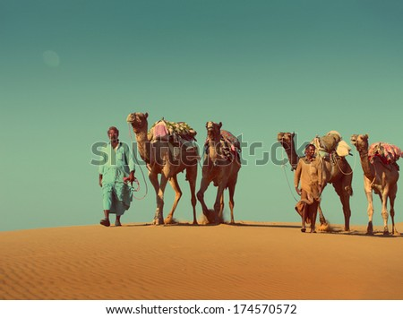 cameleers with camels caravan on sand dune in desert  - vintage retro style  - stock photo
