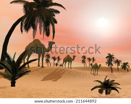 Camels standing in a sand desert with palmtrees by sunset light - 3D render - stock photo