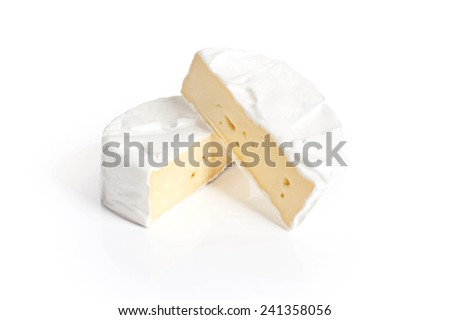 Camembert cheese on a white background - stock photo