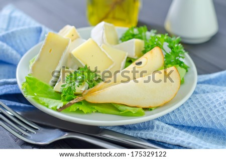 camembert with pear - stock photo
