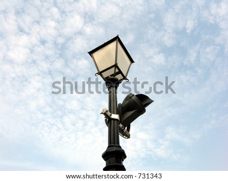 Camera and Lamp - stock photo