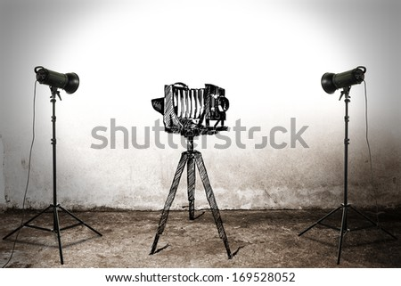 camera and lamps  - stock photo