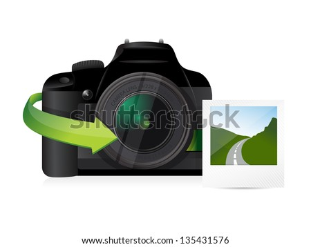 camera and print illustration design over a white background - stock photo