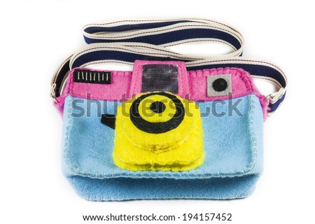 camera bag is colorful on a white background. - stock photo