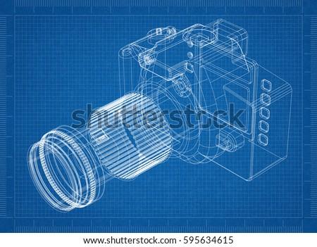 Camera blueprint 3 d perspective ilustracin de stock595634615 camera blueprint 3d perspective malvernweather Images