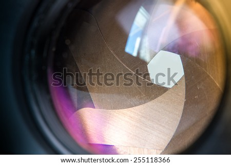 Camera diaphragm aperture with flare and reflection on lens