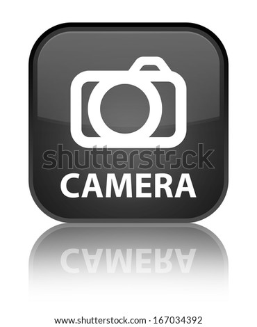 Camera glossy black reflected square button - stock photo