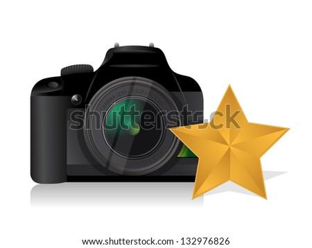 camera gold star review concept illustration design over white - stock photo