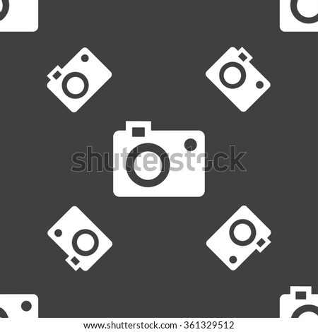 camera icon sign. Seamless pattern on a gray background. illustration - stock photo