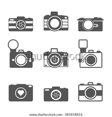 Camera icons set. Icons for photographers. Cameras icons. Cameras on white background. - stock photo