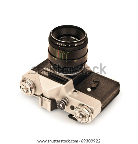 camera isolated on a white background  2 - stock photo