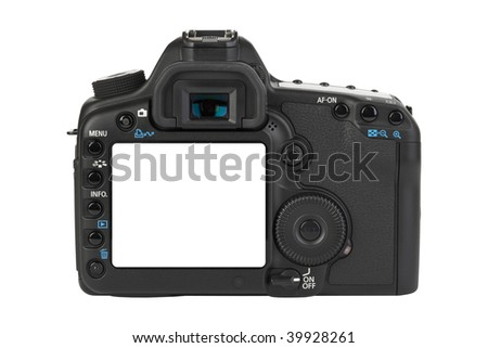Camera isolated on white background - stock photo