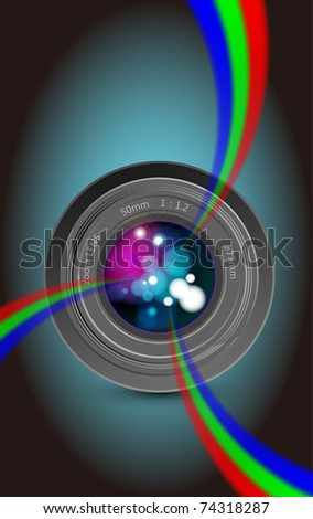 Camera lens and colorful rainbow light
