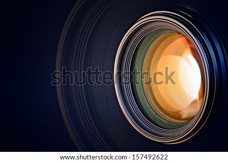 Camera lens background - stock photo