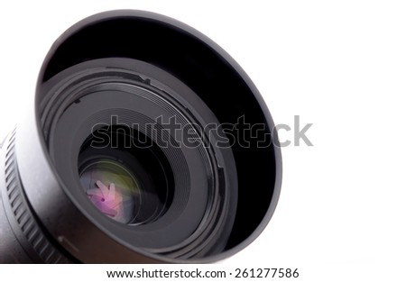 camera lens close up isolated on white