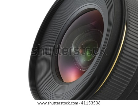 Camera lens closeup with clipping path