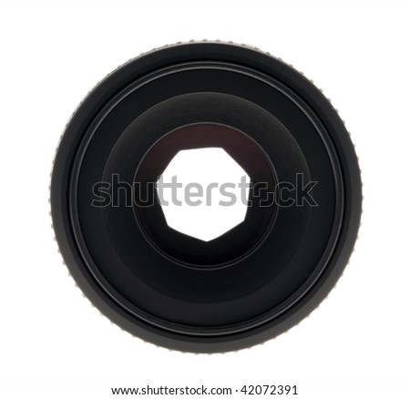 Camera Lens front on showing Aperture Petals - Path included