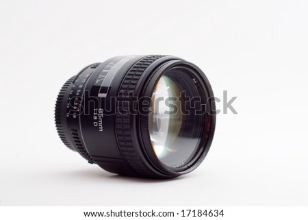 Camera Lens isolated in white background - stock photo