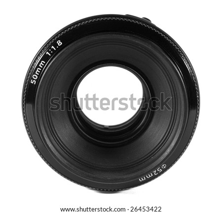 Camera lens isolated on white.