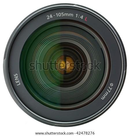 Camera lens isolated on white background - stock photo