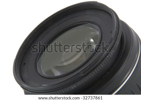 Camera lens macro shooting isolated on white background - stock photo