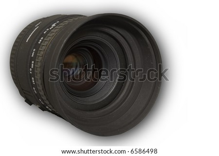 camera lens on white background - stock photo