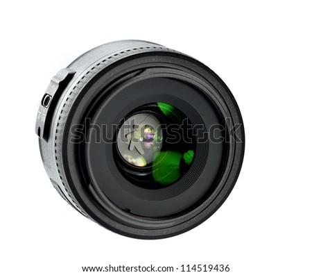 camera lens on whitebackground - stock photo