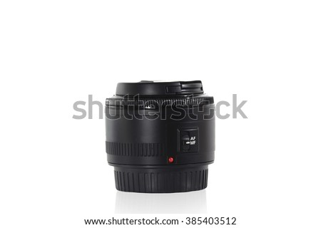 Camera Lens , Reflection , Isolated , Clipping Path , Copy Space - stock photo