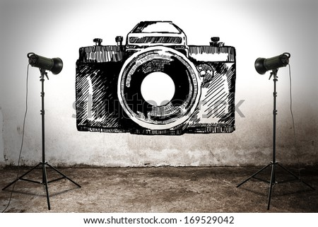 camera on wall  - stock photo