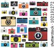 camera pattern ,retro and vintage style - stock photo