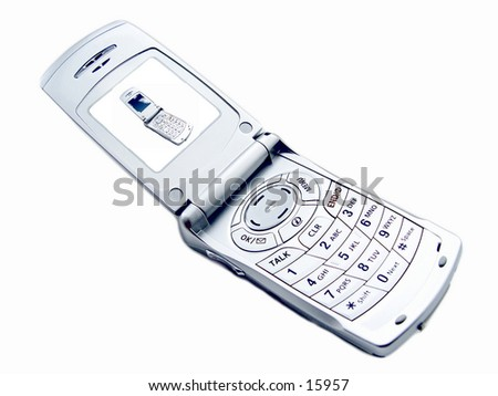 Camera Phone isolated on white background, with picture of cellular phone on the screen - stock photo
